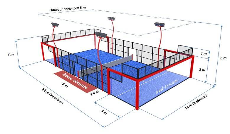 Comment construire un terrain de padel gestion sports for Eclairage court de tennis exterieur