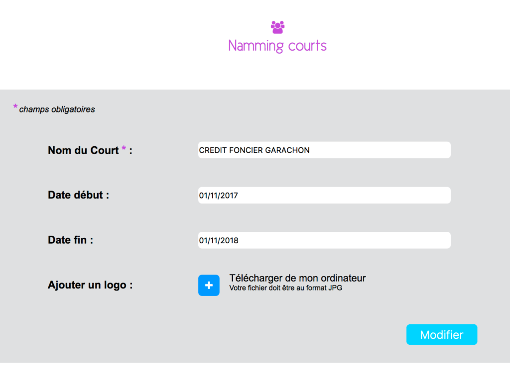 Namming Courts Modifier Gestion Sports