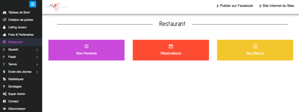 Restaurant Menu Gestion Sports