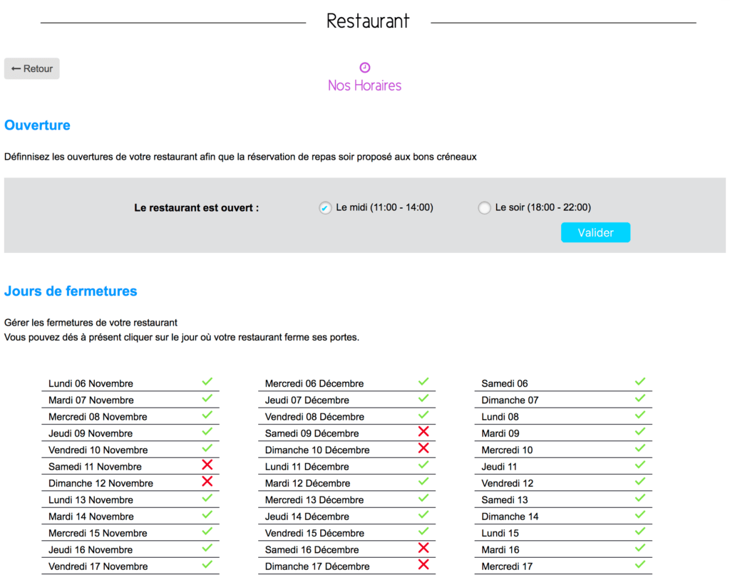 Restaurant Horaires Gestion Sports